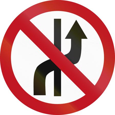 lanes: Regulatory road sign in Colombia: No changing of lanes. Stock Photo