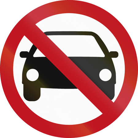 thoroughfare: Colombian sign prohibiting thoroughfare for all motor vehicles. Stock Photo