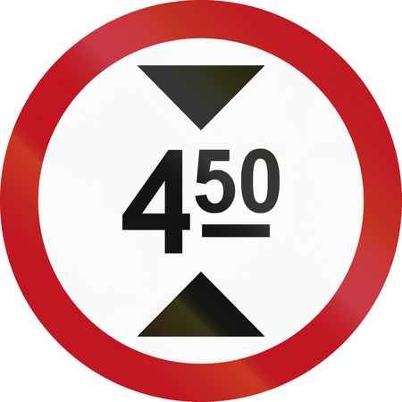 thoroughfare: Colombian sign prohibiting thoroughfare of vehicles with a height over 4.5 meters. Stock Photo