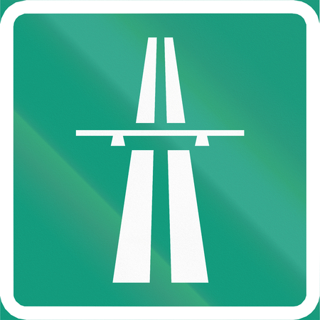 made in finland: Finnish road sign no. 671. Symbol of motorway