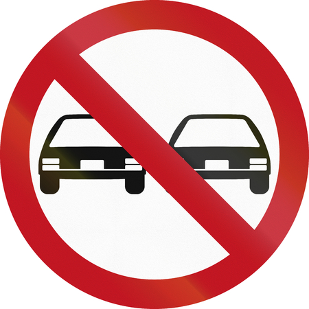 overtaking: An official Colombian traffic sign: No overtaking!