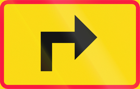 right handed: Additional traffic sign in Finland - Turn to the right