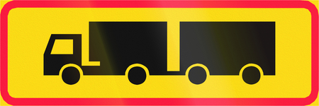 additional: Additional traffic sign in Finland - Vehicle combinations only Stock Photo