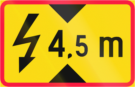 additional: Additional traffic sign in Finland - Height of overhead power line
