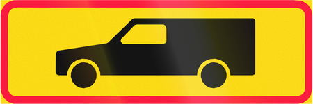 panel van: Additional traffic sign in Finland - Vans Only Stock Photo