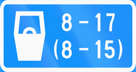 fee: Finnish road sign - Parking against fee in specified times.