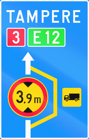 advisory: Finnish road sign no. 614. Advisory sign for lorry detour Stock Photo