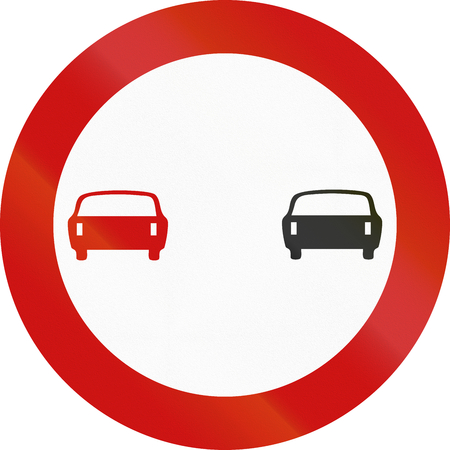 overtaking: A Greek traffic sign : No overtaking!