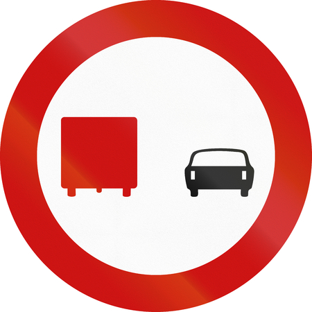 overtaking: A Greek traffic sign: No overtaking by lorries!