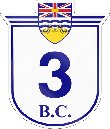 number 3: Shield for the British Columbia Highway number 3.
