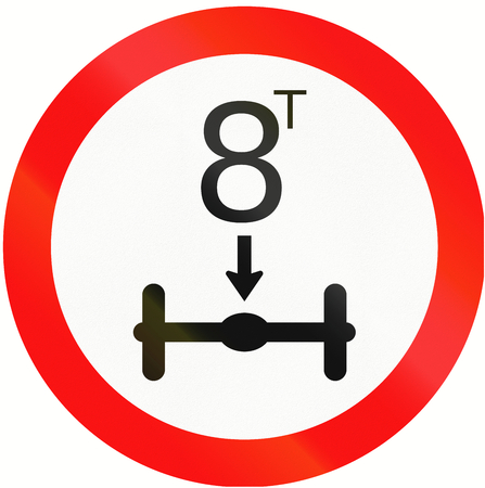 axle: Indonesian traffic sign prohibiting throroughfare of vehicles with a load over 8 tons on each axle.