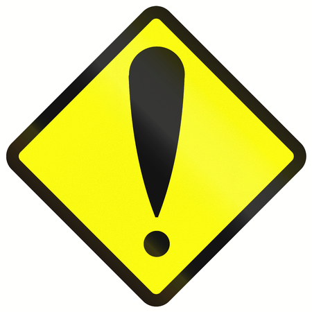 orthographic symbol: Indonesian road warning sign - General danger Stock Photo