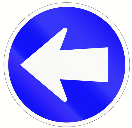 turn left sign: An Indonesian traffic sign - Turn left