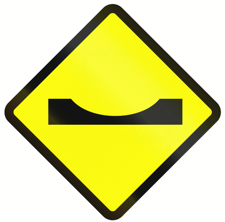 pot hole: Warning road sign in Indonesia: Road dip Stock Photo