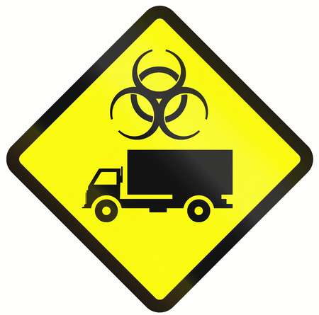 biologically: Indonesian warning road sign - lorries with biologically hazardous goods