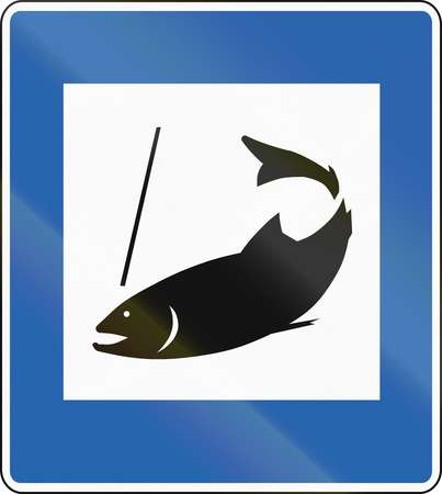 color image fish hook: Informative road sign in Iceland: Fishing area
