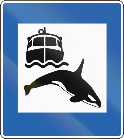 whale watching: Icelandic service road sign - Whale watching