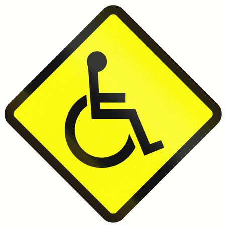 paraplegic: Advertencia se�al de tr�fico en Indonesia - Discapacitados