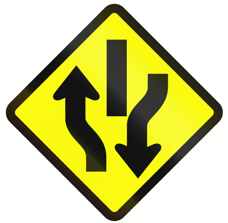 marking up: Indonesian road warning sign: Central Reserve With Two Way Traffic