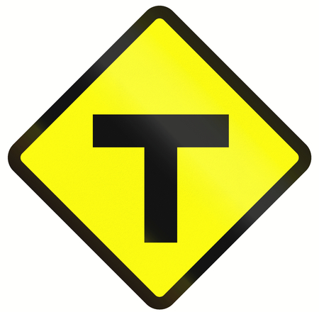 routing: Indonesian road warning sign - T-Intersection ahead