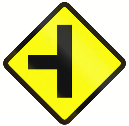routing: Indonesian road warning sign: T-Intersection ahead