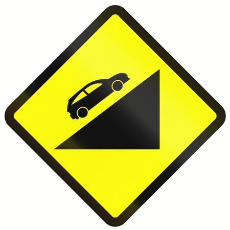 steep: Indonesian road warning sign: Steep uphill grade Stock Photo