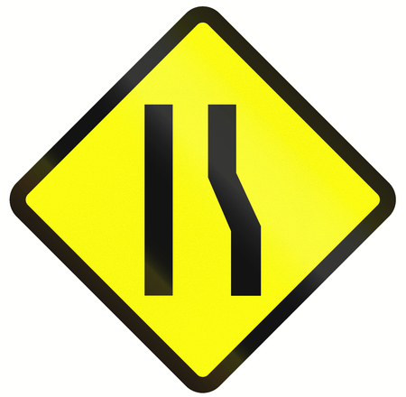 one lane road sign: Indonesian road warning sign: Road narrows on the right