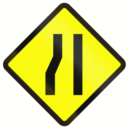 one lane roadsign: Indonesian road warning sign: Road narrows on the left.