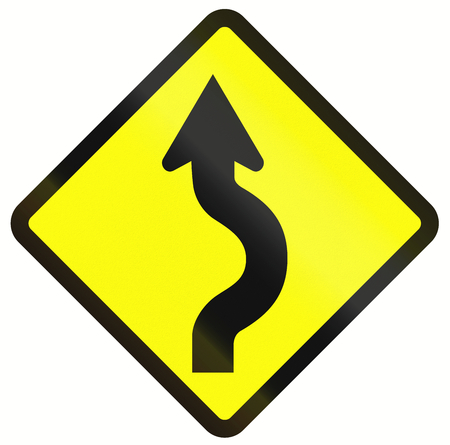 right handed: Indonesian traffic warning sign: Single two reverse curve.