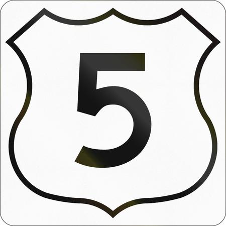 nova scotia: Route marker for Nova Scotia trunk highway number 5. Stock Photo