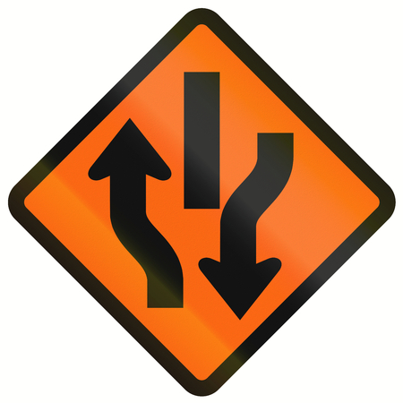 two way: Indonesian temporary road warning sign: Central Reserve With Two Way Traffic