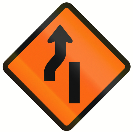 one lane roadsign: Indonesian temporary road warning sign: Diversion to the left ends