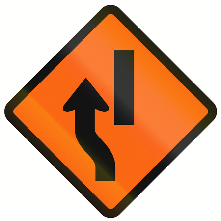 one lane roadsign: Indonesian temporary road warning sign: Diversion to the left