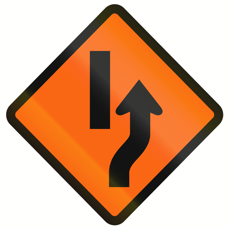 one lane road sign: Indonesian temporary road warning sign: Diversion to the right Stock Photo