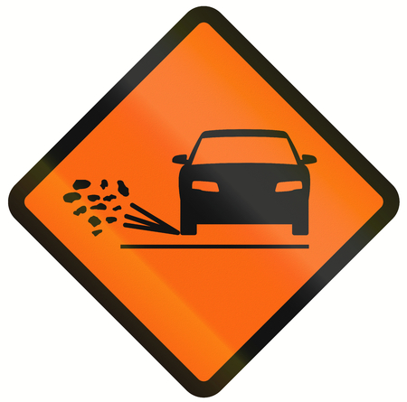 loose: Temporary warning road sign in Indonesia: Loose chippings Stock Photo