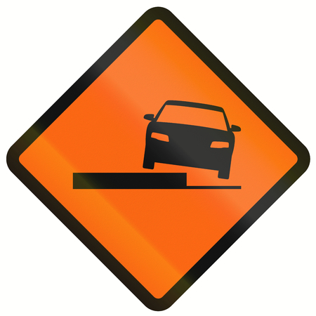temporary: Temporary warning road sign in Indonesia: Uneven road.