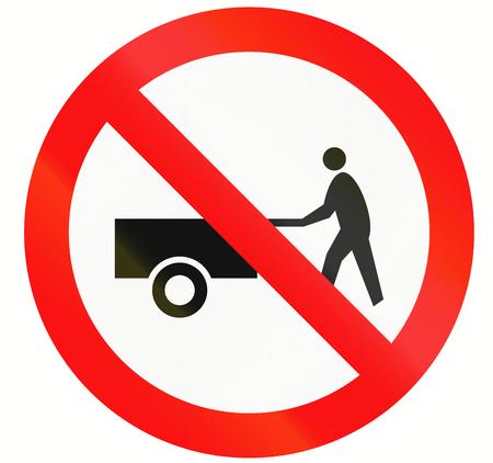 thoroughfare: Indonesian traffic sign prohibiting thoroughfare of handcarts.