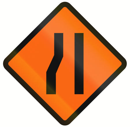 one lane roadsign: Indonesian temporary road warning sign: Road narrows on the left.