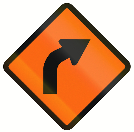 temporary: Indonesian temporary road warning sign: Right curve ahead