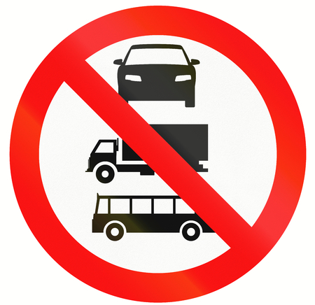 thoroughfare: Indonesian sign prohibiting thoroughfare for cars, buses and lorries. Stock Photo