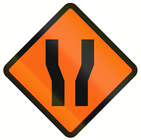 both: Indonesian temporary road warning sign: Road widens on both sides.