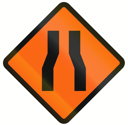 Indonesian temporary road warning sign: One lane roadnarrow road ahead