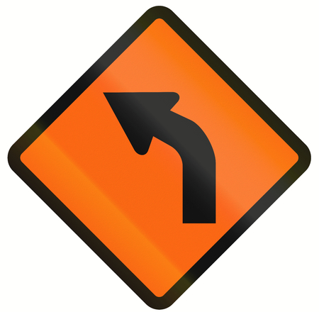 temporary: Indonesian temporary road warning sign: Left curve ahead Stock Photo