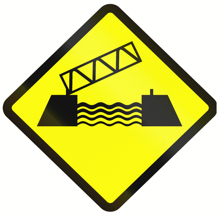 movable bridge: Warning road sign in Indonesia: Movable bridge