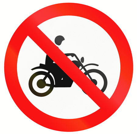 thoroughfare: An Indonesia sign prohibiting thoroughfare for motorcycles.
