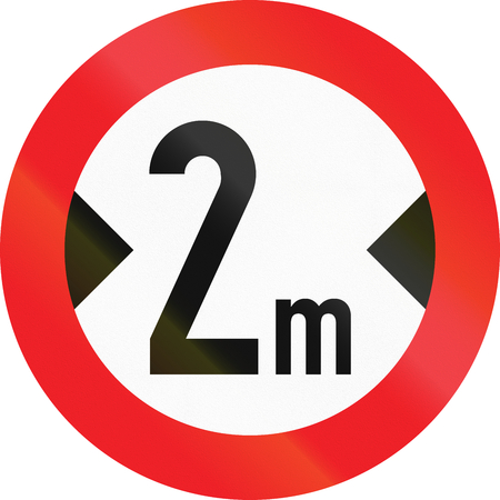 thoroughfare: Austrian sign prohibiting thoroughfare of vehicles with a width over 2 meters.