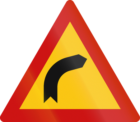 red handed: Greek sign warning about a right curve.