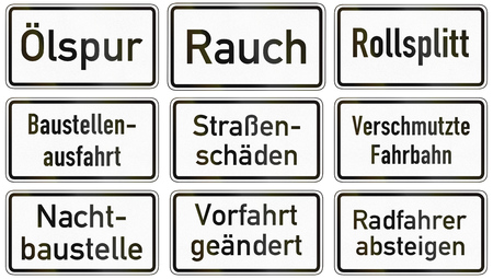 road conditions: Collection of German supplementary road signs regarding road conditions.