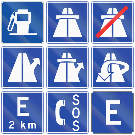 emergency lane: Collection of motorway information signs in Chile. Stock Photo