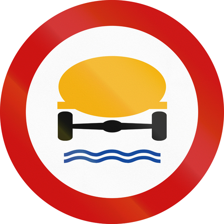 goods: Greek traffic sign prohibiting thoroughfare of vehicles transporting goods dangerous to water reserves. Stock Photo